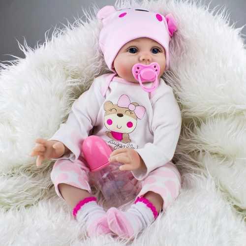 Bebe reborn 57 cm bebe ojos abiertos azules juguetes