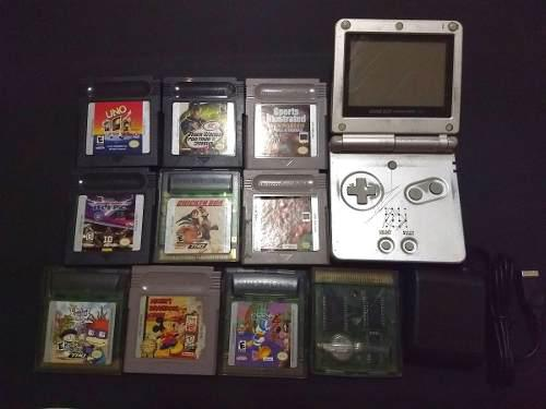 Nintendo game boy advance sp + 10 juegos (con detalle)