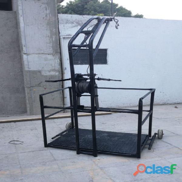 Canastilla para trabajo en alturas con malacate manual de 50 y 100 mts de cable