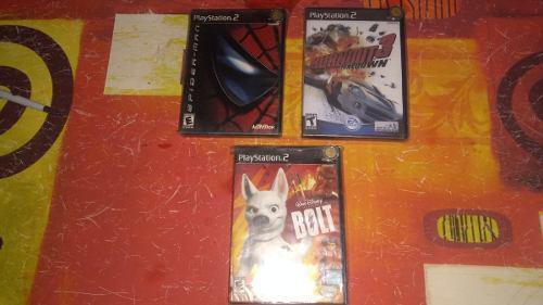 Juegos play station 2 (bolt,burnout,spiderman)