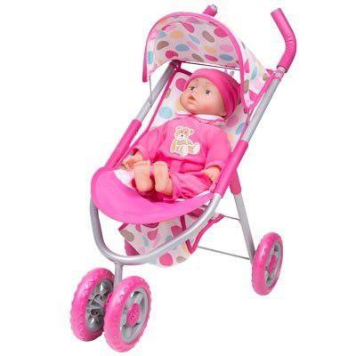 Carriola carreola muñeca bebe juguete 3 ruedas 14 sonidos