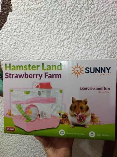 Jaula hamster sunny 33.5x23.7x35.5 rosa nueva