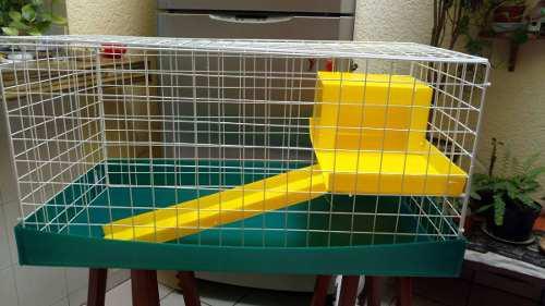 Jaula nueva para conejos 1/2 piso base verde, medio piso