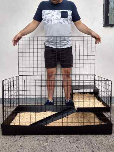 Jaula nueva para cuyo o conejo 1/2 piso + 1 bolsa aserrín