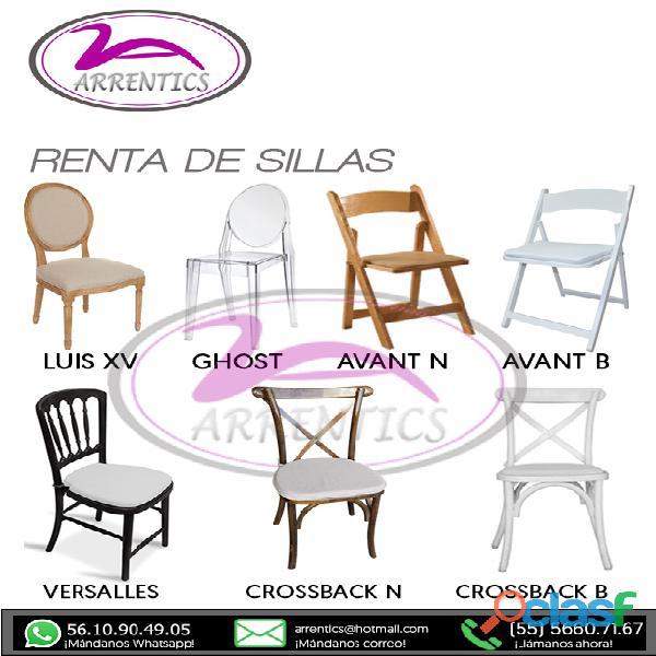 Renta alquiler de sillas y mesas