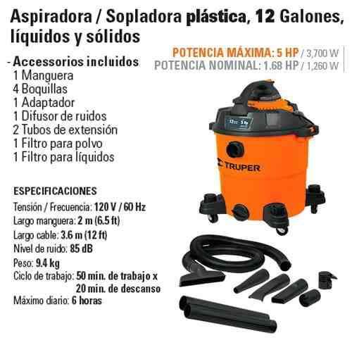 Aspiradora truper sopladora plastico 12093 cod. vg