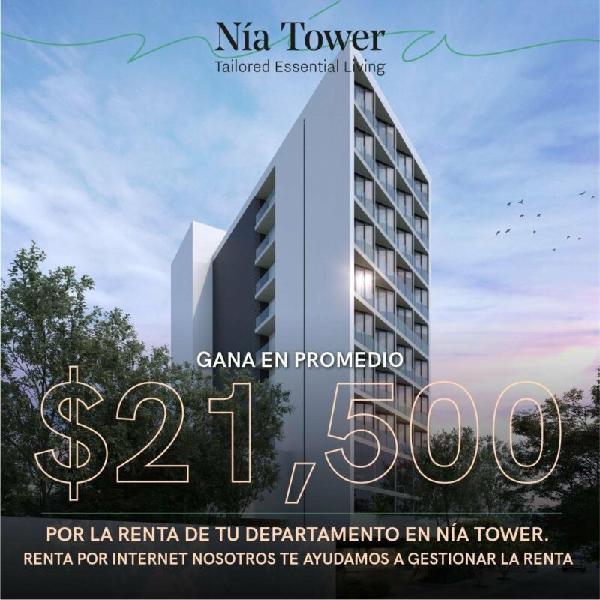 Departamento nia tower,2 rec,con administración de rentas