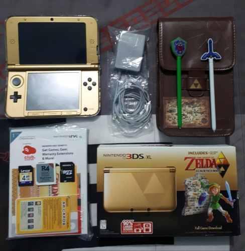 Nintendo 3ds xl r4 64gb ed zelda between worlds + accesorios