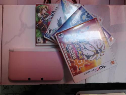 Nintendo 3ds xl rosa c/ blanco + 4 juegos