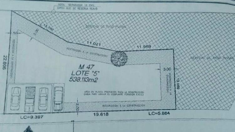 Terreno uso residencial carretera nacional carolco colonia