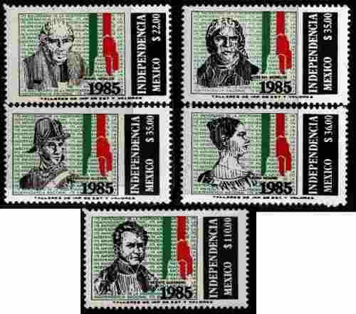 2489 méxico centenario independencia 5 sellos mint n h 1985