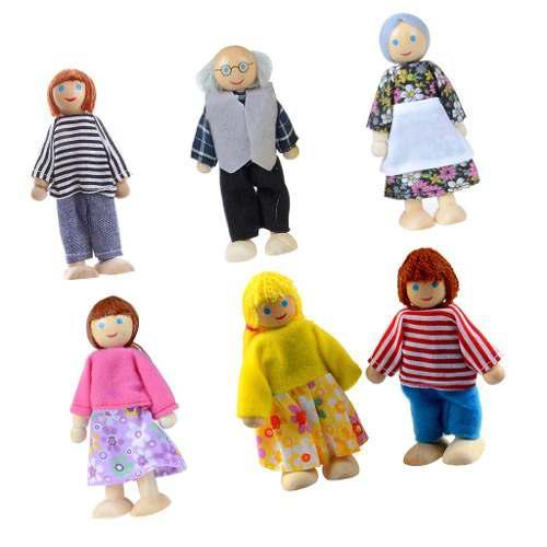 6pcs marionetas muñecas familia de seis juguete madera mari