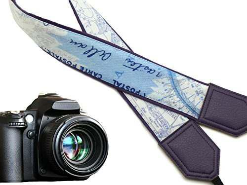 World map camera strap. purple dslr / slr camera strap. code