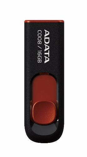 Adata memorias usb 16gb retractil 2.0 c008 negro con rojo