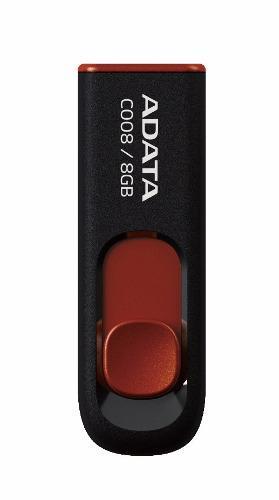 Adata memorias usb 8gb retractil 2.0 c008 negro con rojo