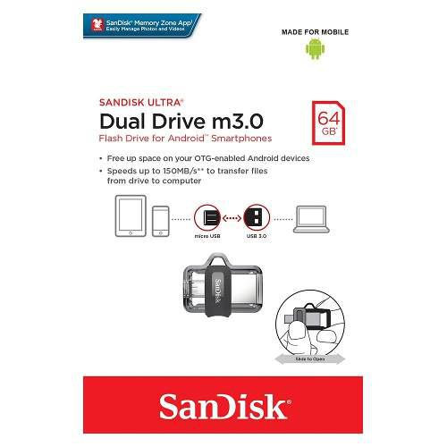 Memoria sandisk ultra 64gb dual usb m3.0 micro usb v8 otg