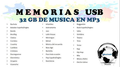 Memoria usb con musica todos los generos 32 gb