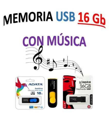 Memoria usb de 16 gb con musica variada de todos lo generos