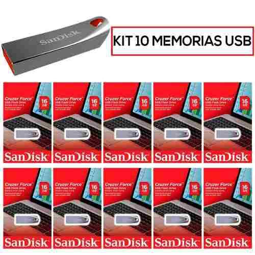Paquete 10 memorias usb 16gb sandisk sdcz71-016g-b35 mayoreo