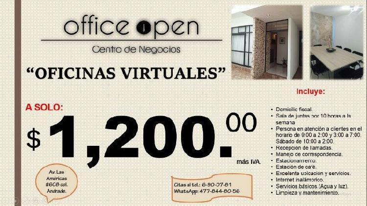 Oficina virtual con todos los serv. incluidos a 1,200 al mes