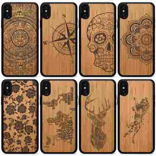 1178fc5bf69 Funda iphone 6 7 8 x plus grabada case madera bambu carcasa