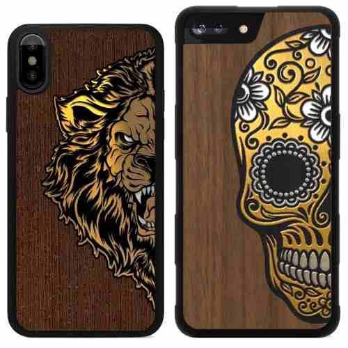 5863fcc6767 Funda madera aluminio oro iphone x 8 7 6 plus calavera leon