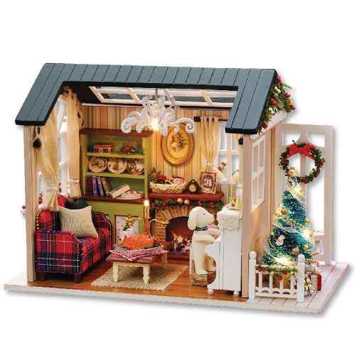 Casa muñecas de madera miniatura con luz led y muebles