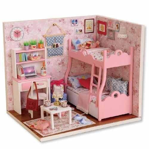 Diy de madera muñeca casa muebles artesanía miniatura caja