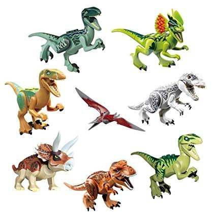 Fasoty 8 piezas dinosaurio abs building blocks miniatura fig