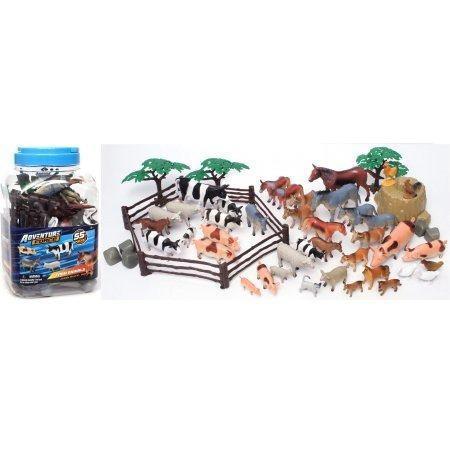 Juguetes animalitos animal pack granja en miniatura 55 pzs