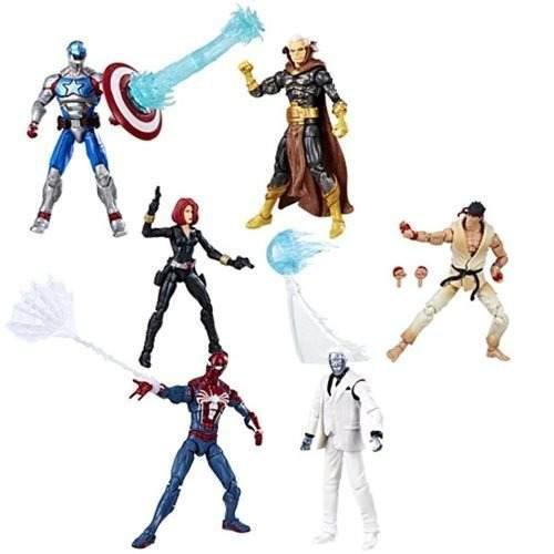 Marvel gamerverse 6 figuras spider-man ryu black widow