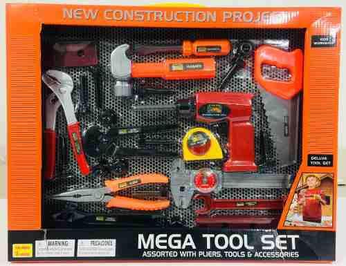 Mega set herramientas de juguete pinzas llaves taladro niño