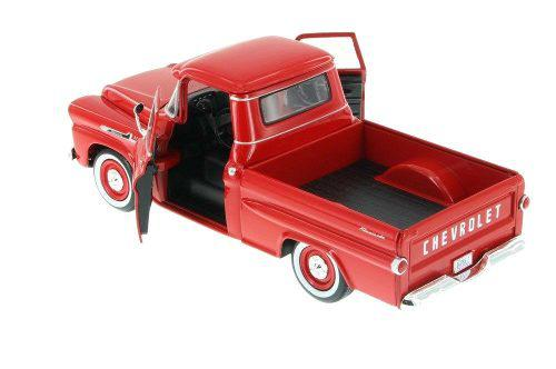 Motor max 1:24 1958 chevy apache fleetside camioneta roja