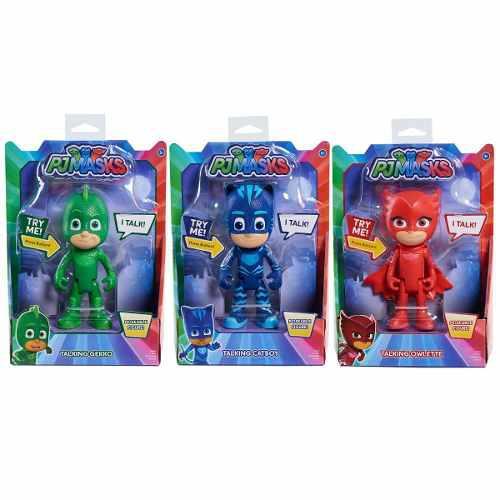 Pj mask 3 héroes pijama hablan fig catboy, owlette y gekko