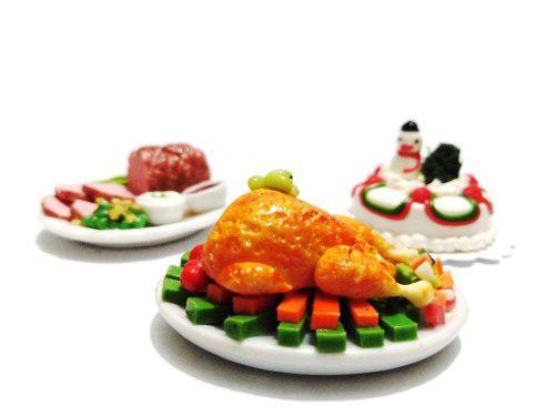 Set a2 platillos cena comida miniatura para casa de muñeca