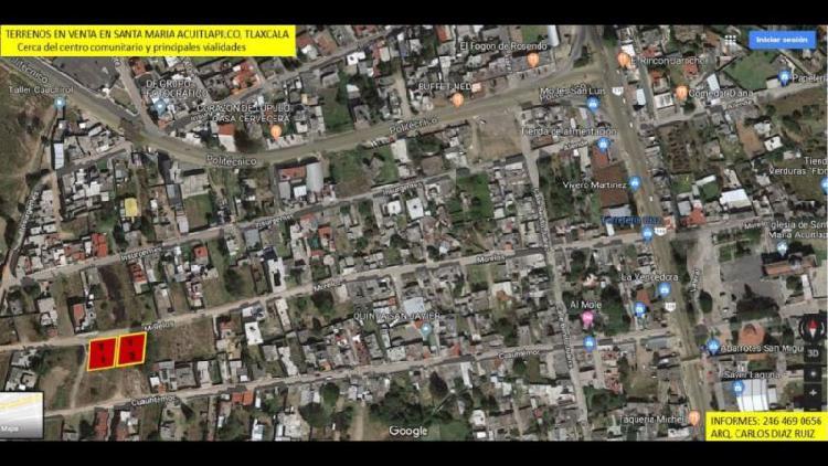Terreno en venta 500 m2 ubicado en acuitlapilco, tlaxcala.