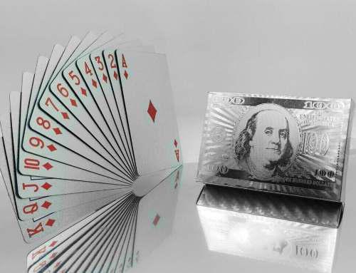 Cartas baraja plateadas pet juego de naipes 100 dolares