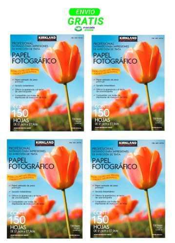 Kirkland papel fotografico 150 hojas 255gr carta 4 pack