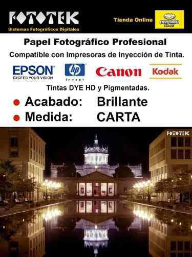 Papel fotográfico profesional carta brillante rc 50 fotos