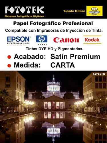 Papel fotográfico profesional carta satín premium 50 fotos