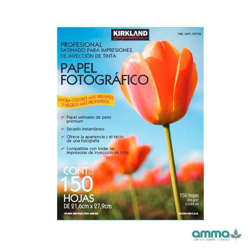 Papel fotográfico satinado 150 pz premium 255g kirkland