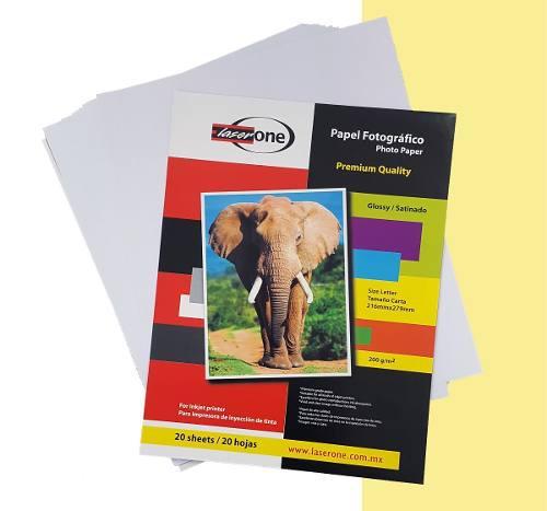 Papel fotográfico tamaño carta 200g paquete con 20 hojas