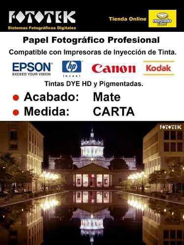 Papel fotográfico tamaño carta mate premium rc