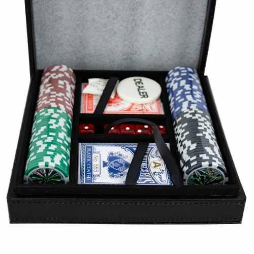 Set Cartas Dados Chips Estuche Poker Juego Casino Negro