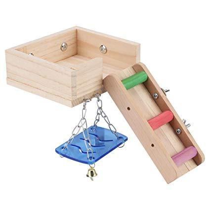 Plataforma de madera, animales hamster casa columpio y escal