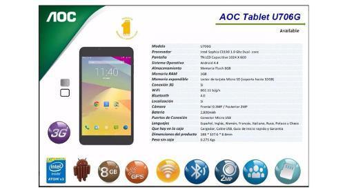 Tableta aoc1 gb ram7 u706g micro sd nuevo envío gratis!!!