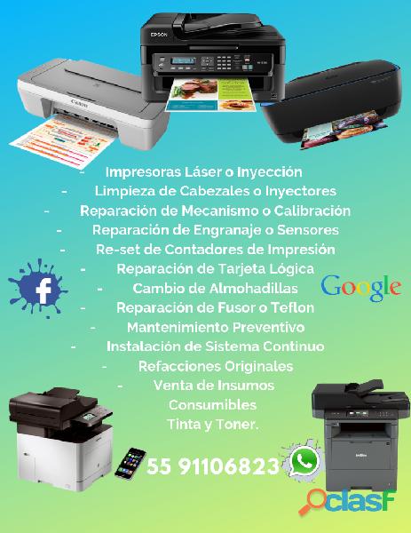 Reparación de impresoras laser o tinta
