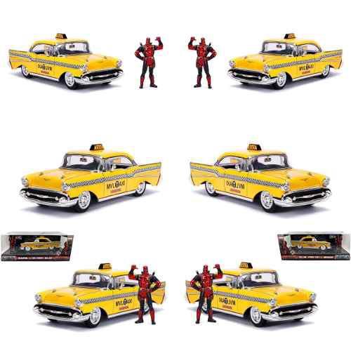 Chevrolet bel air 1957 taxi deadpool fig 1:24 jada met pla