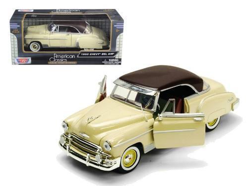 Chevrolet bel air coupe beige - escala 1:24 motor max