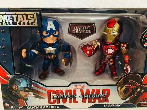 Die cast iron man capitan 2 piezas metal marvel civil war